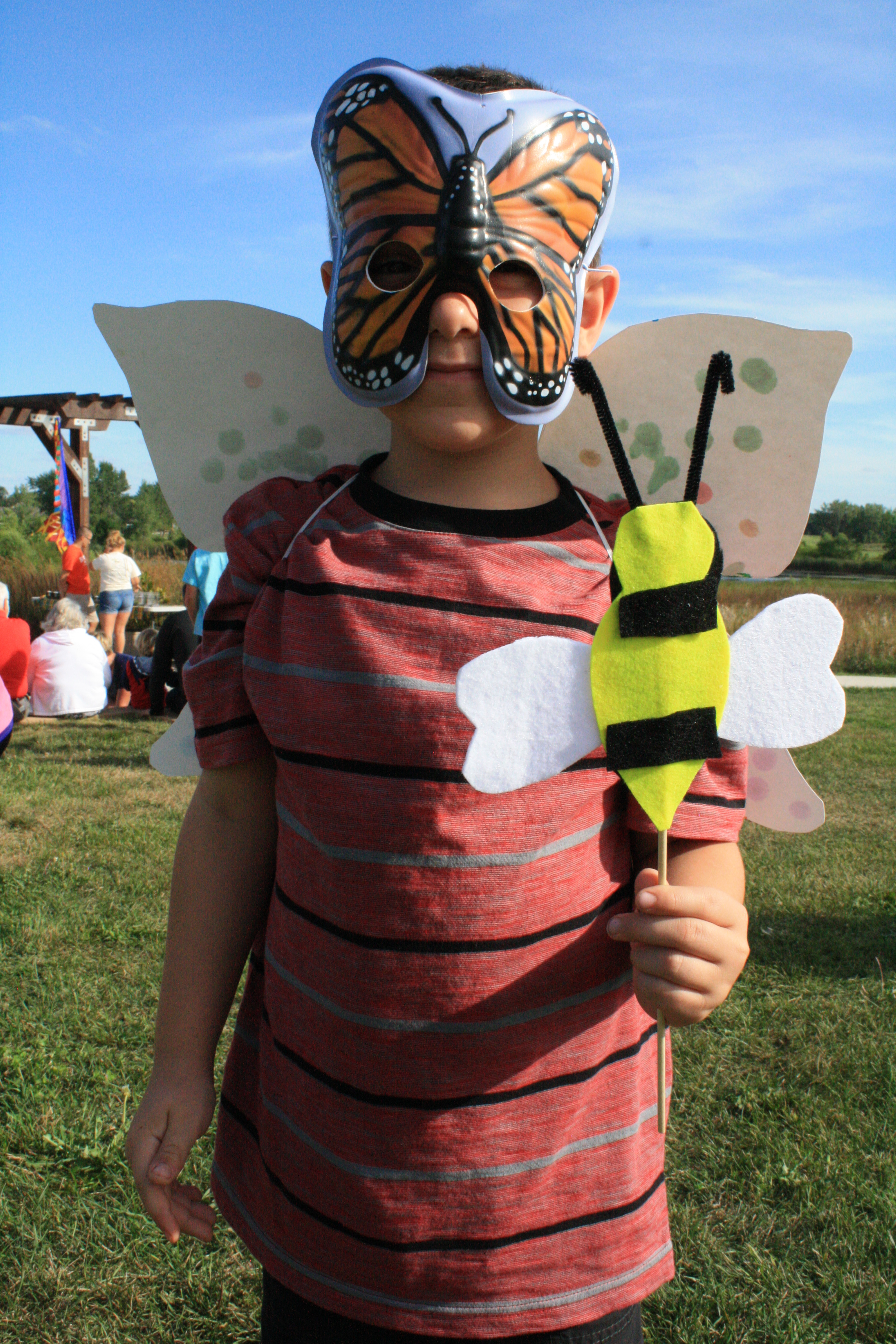 Photo of a child with a butterfly mask on