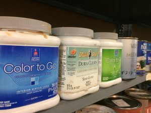 Photo of used paint on a shelf