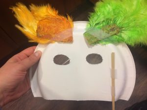 Photo of the back of the duck mask craft