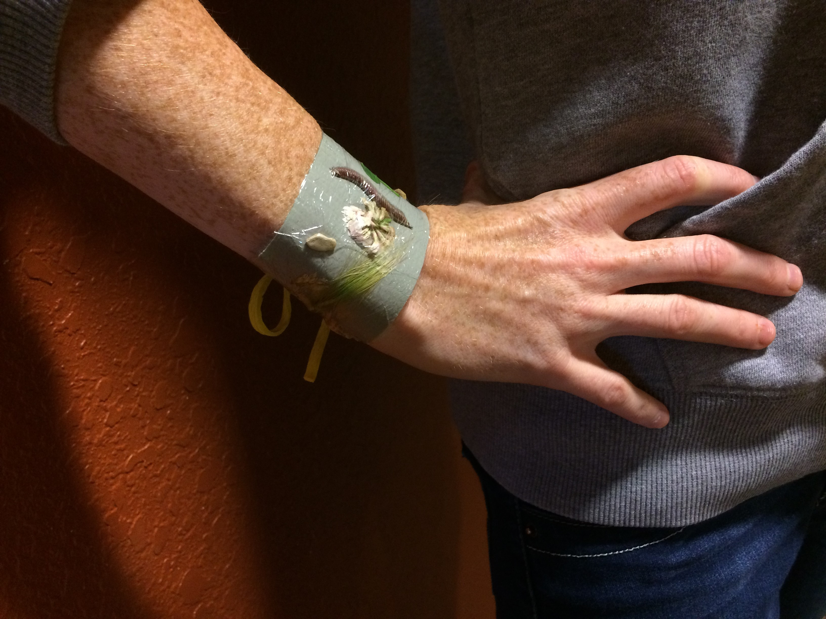 Photo of a woman with a nature bracelet on